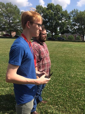 Ben McDonough, a senior at McCallie School in Chattanooga, flies one of the Spark drones. APSU's GIS Center and the University's Drone Club gave a demonstration for the Governor's School of Computational Physics.