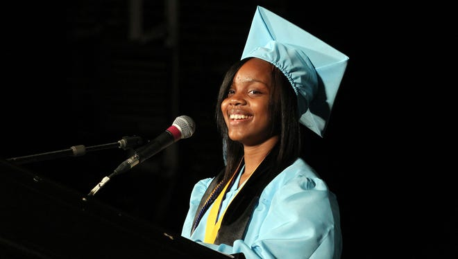 Asbury Park High School valedictorian Tylisha Allen delivers her address during ceremonies held at the Paramount Theater in Asbury Park, NJ, Monday, June 23, 2014.