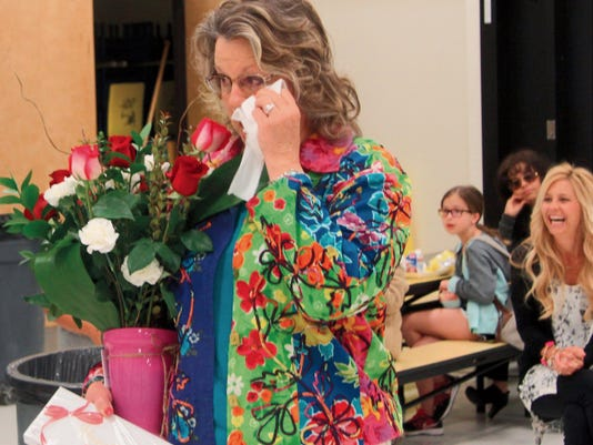 Sandra Nunley, principal at Riverside Elementary School, was overcome with emotion Thursday when she was surprised at morning assembly with the news that she had been named New Mexico Principal of the Year by the New Mexico Parent Teacher Association.