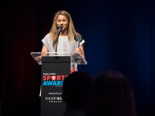 Kyah Watson speaks during the Argus Leader Sports Awards