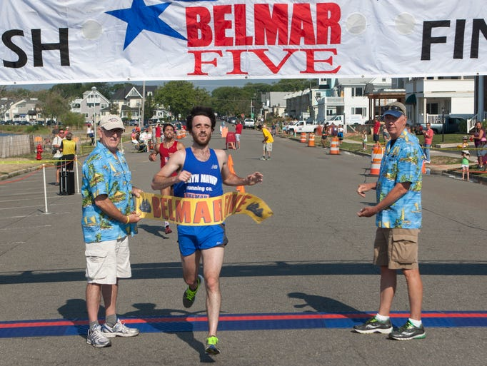 Men's winner Cameron Marantz of Philadelphia. Belmar Five Mile Run on July 12, 2014 in Belmar NJ. Peter Ackerman / Staff Photographer