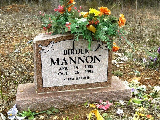 Birdle Mannon's headstone at the Clark cemetery where the Mannon family and other early settlers are buried.