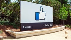 "The ""thumbs-up"" sign at Facebook headquarters"