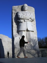 People visit the Martin Luther King, Jr. Memorial on
