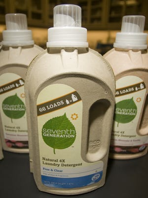 Seventh Generation's pulp paper bottle for its 4X laundry detergent, photographed in 2011.