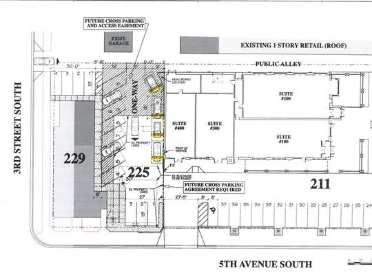 A proposed site plan for a drive-through coffee shop