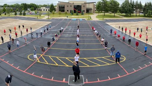 The Holland High School band practices on June 23.