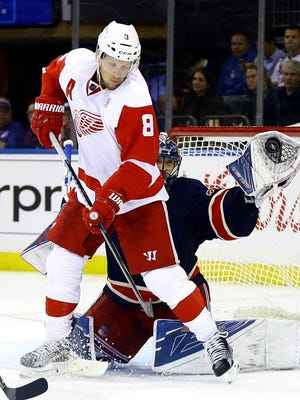 Detroit Red Wings left wing Justin Abdelkader looks for a rebound against the New York Rangers on Oct. 19, 2016.
