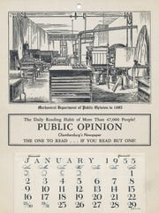 A fantastic calendar printed by the Public Opinion in 1955