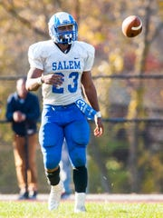 Salem running back Jonathan Taylor (23) celebrates