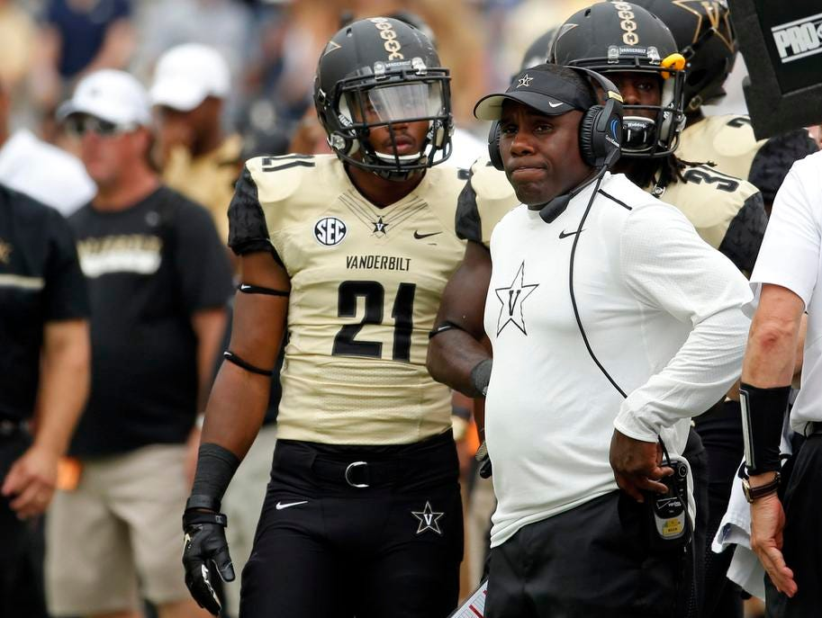 Vanderbilt coach Derek Mason reacts to a play on the sideline during a game against Georgia Tech last season.