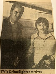 """""""Actor Burt Ward, television's Robin of the Batman series, arrived in San Angelo on a goodwill tour sponsored by Sears Co. Ward is shown being greeted by Robin McGeorge, manager of the local store, where Ward will appear as Robin for an autograph session."""" Mar. 1, 1971"""