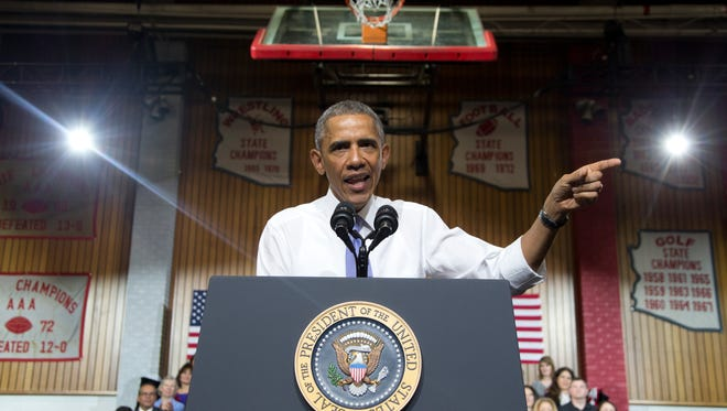 President Obama speaks at Central High School on Thursday, Jan. 8, in Phoenix about the recovering housing sector.