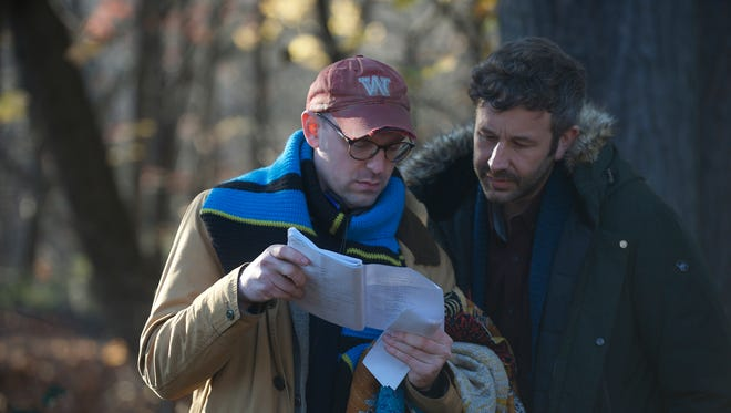 """Director Russell Harbaugh -- a former Wabash quarterback -- works with actor Chris O'Dowd on his movie """"Love After Love."""""""