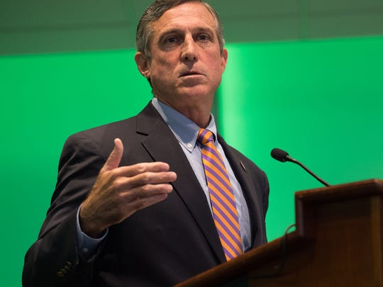Governor John Carney gives his remarks at the 9th annual Kent County Economic Summit at Delaware Technical Community College in Dover.