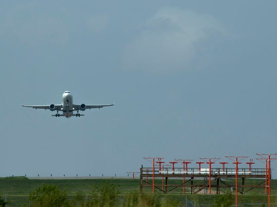 An Allegiant Air flight to Orlando, Fla., takes off from the Evansville Regional Airport Thursday morning.