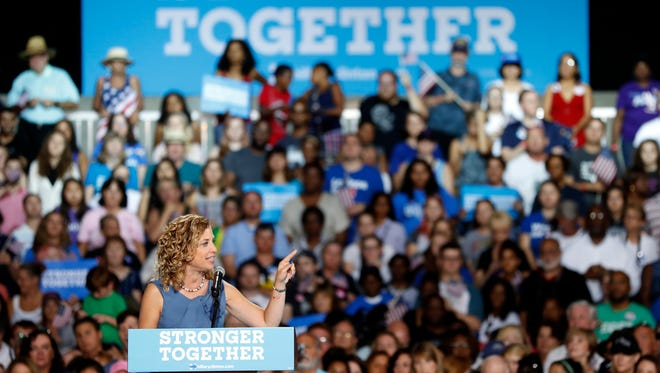 DNC chairwoman, Rep. Debbie Wasserman Schultz speaks during a campaign event for Democratic presidential candidate Hillary Clinton at the Florida State Fairgrounds Entertainment Hall, Friday, July 22, 2016, in Tampa, Fla.