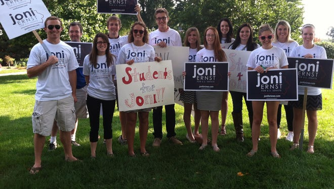 Simpson College Republicans show up at the debate to support Joni Ernst.