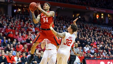 Cincinnati guard Jarron Cumberland drives to the basket against Houston in the first half at Fifth Third Arena on March 2, 2017.