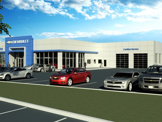 A rendering of the exterior plans for Wheelers Chevrolet.