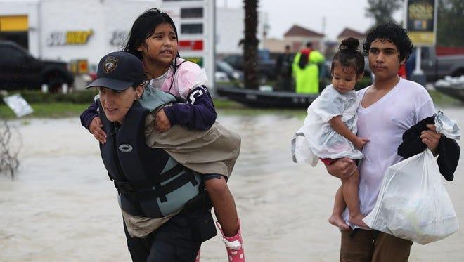 Evacuees in Houston on Aug. 28, 2017.
