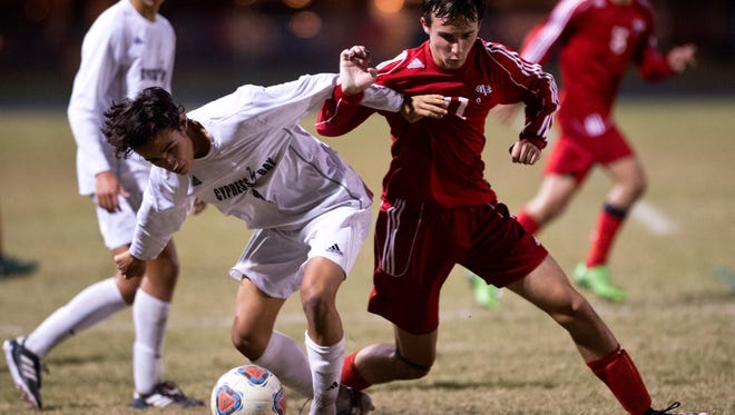 Vero Beach's Bayne Hagood (right) tries to get possession of the ball from Cypress Bay's Juan Rodriguez during the second half of the high school boys soccer 5A state semifinal game Friday, Feb. 10, 2017, at Cypress Bay High School in Weston.
