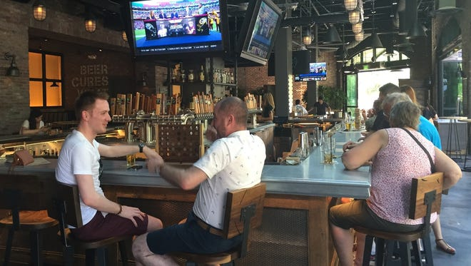 Beerhaus has board games, ping-pong and beer in an upscale casual indoor/outdoor setting in The Strip's first park.