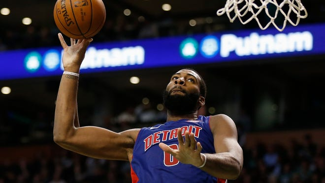Pistons center Andre Drummond goes up to shoot during the fourth quarter of the Pistons' 118-108 win on Monday, Nov. 27, 2017, in Boston.