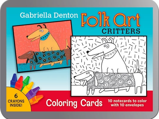 Artist Gabriella Denton of Las Cruces says her whimsical folk art coloring book and color-it-yourself card kit continue to attract adult fans at the Museum of International Folk Art in Santa Fe and with online fans at pomegranate.com.