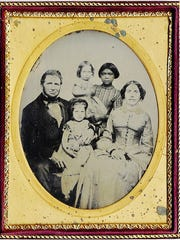 Portrait of Charles and Philena Camden with daughter Ada (foreground) and daughter Grace held by nursemaid Kate, circa 1859. (Camdens' third daughter Mary had not yet been born).