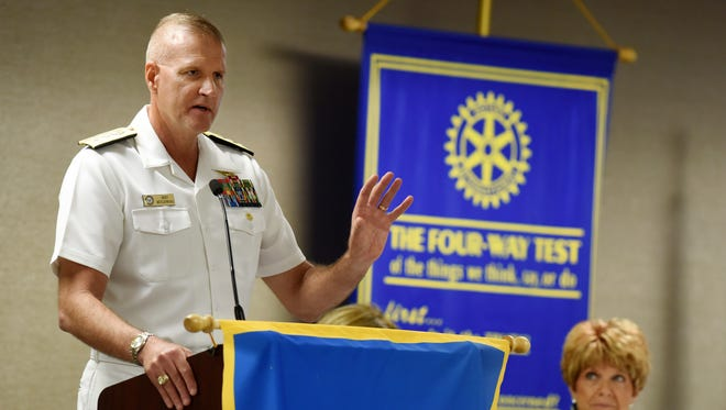 Bret Muilenburg, U.S. Navy Rear Admiral,addresses the Sioux Falls Downtown Rotary Club about the role of the U.S. Navy on Monday at the Holiday Inn City Centre.
