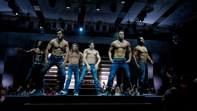 "The cast of ""Magic Mike XXL."" From left: Steven ""Twitch"" Boss, Matt Bomer, Kevin Nash, Joe Manganiello, Channing Tatum and Adam Rodriguez."