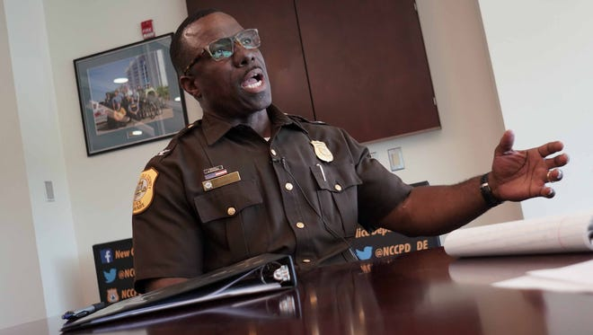 New Castle County Police Col. Vaughn Bond reacts to the double homicide in Belvedere that claimed the lives of 15-year-oldDoris Dorsey and 35-year-old Vincent DiMenco.