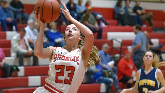 Bellevue's Bailey Whitcomb (23) goes for a layup during game action in February.