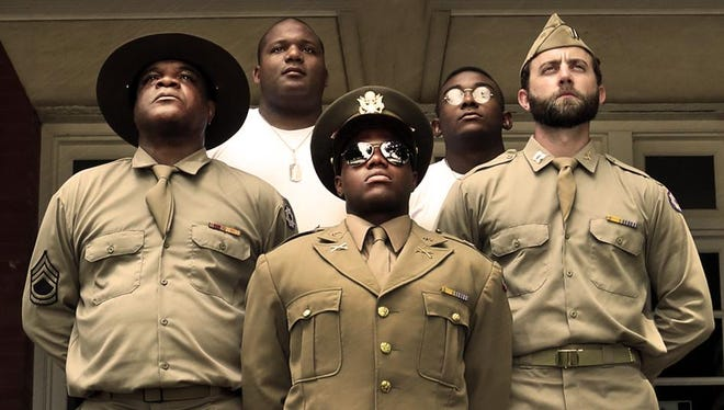 """Aaron Smith, Jerald Brantley Jr., Ken-Matt Martin, Freddie Fulton and Scott Siepker filled out the cast in a recent staging of the 1982 Pulitzer Prize winner, """"A Soldier's Play,"""" at the Des Moines Social Club."""
