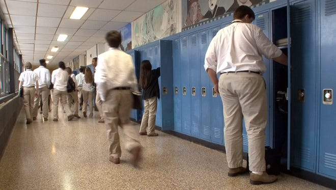 St. John Vianney School students walk the halls in Holmdel.