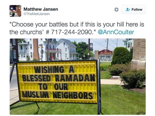 Tweet by Matthew Jansen encouraging people to call