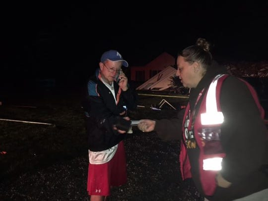 A member of the Red Cross arrived at Hook Road Tuesday