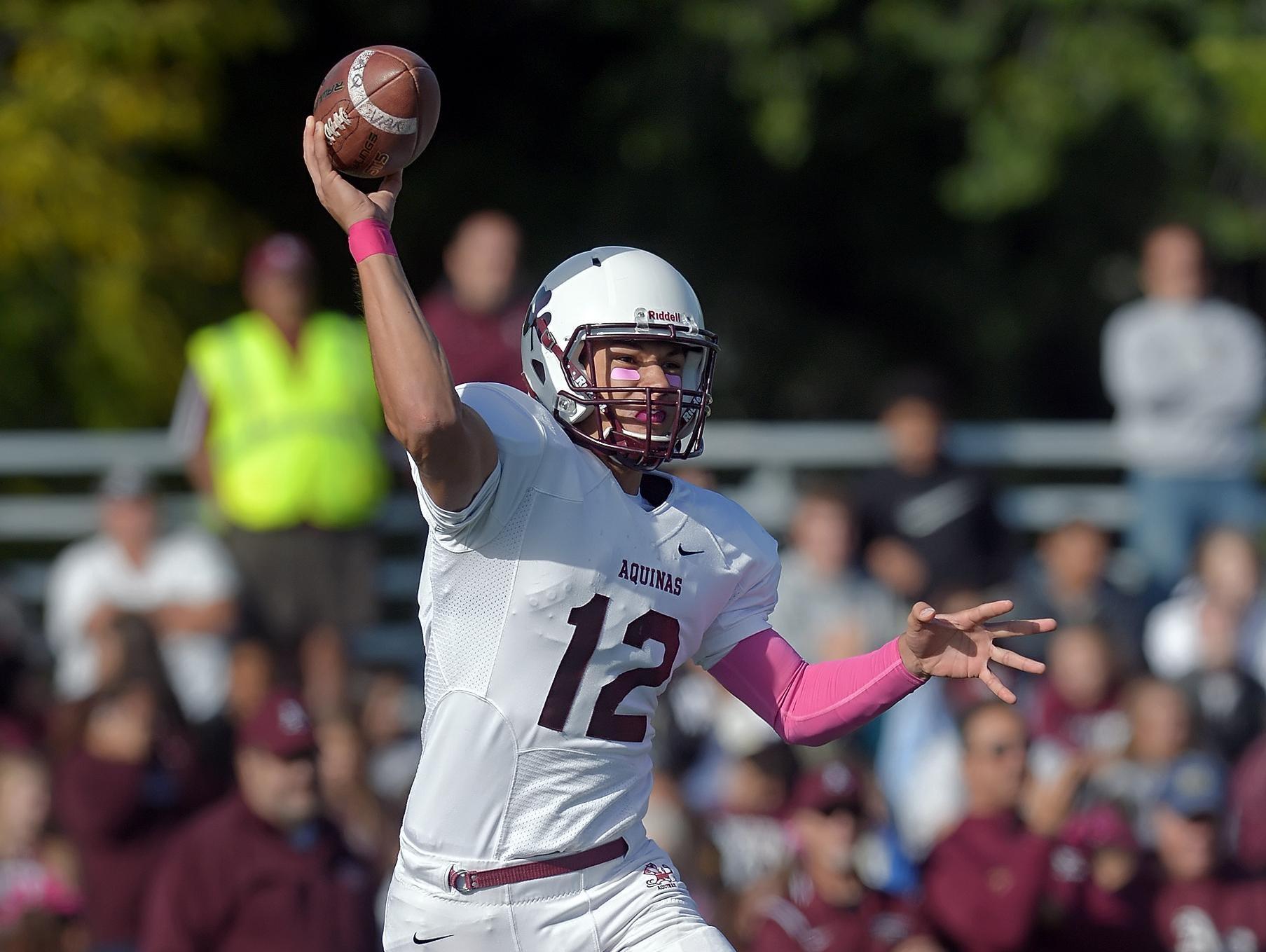 Aquinas quarterback Jake Zembiec has 20 touchdown passes in six games this season.