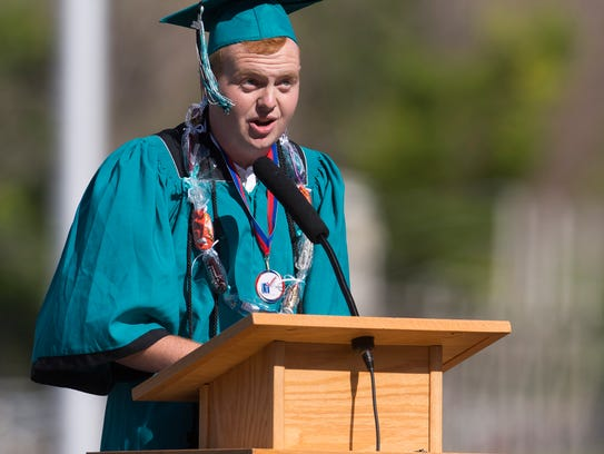 Canyon View Student Body President Avery Whittaker addresses students May 23, 2018.