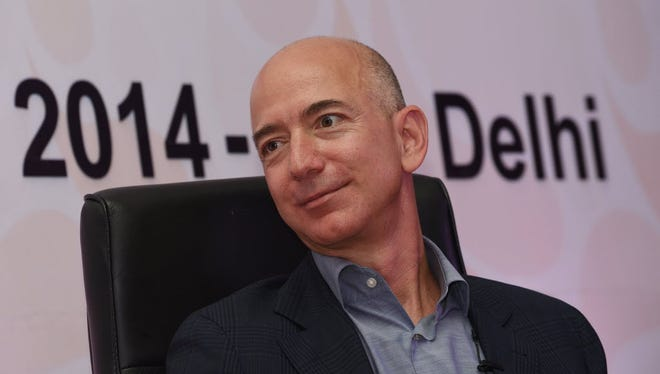 Amazon.com founder and CEO Jeff Bezos looks on during an event in New Delhi on October 1, 2014.