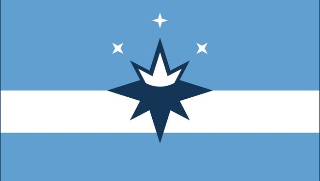 """The flag proposed in 2017 by the Springfield Flag Movement features a """"compass crown"""" at its center, symbolizing the Queen City."""