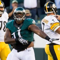 Eagles defensive lineman Fletcher Cox celebrates after sacking Steelers quarterback Ben Roethlisberger in the second quarter of a game between the Philadelphia Eagles and Pittsburgh Steelers in Philadelphia on Sunday afternoon.