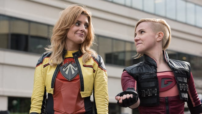 An image from the video series 'Electra Woman & Dyna Girl,' with Grace Helbig, at left, and Hannah Hart.