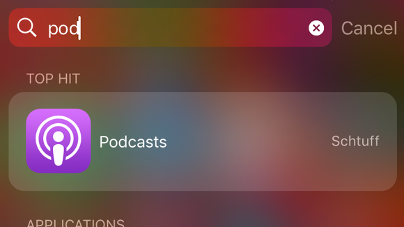 A screenshot of how to find the Podcast app on an iPhone.