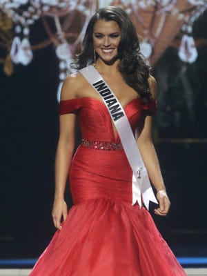 Miss Indiana USA Mekayla Diehl participates in the evening gown competition during the 2014 Miss USA preliminary competition in Baton  Rouge, La., Wednesday, June 4, 2014.