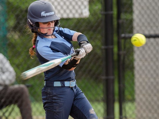 Stevenson's Abby Zwicker (5) barrels up a pitch in the first inning of Monday's game at Plymouth.
