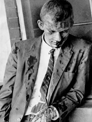 On May 20, 1961, a mob pummeled Jim Zwerg and other