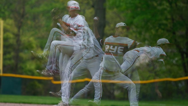 A multiple exposure image of Rye pitcher George Kirby on the mound during a baseball game against Harrison at Disbrow Park in Rye on Wednesday, May 04, 2016.  Rye won 3-0.