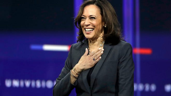 Senator Kamala Harris speaks at the San Joaquin Valley Leadership Conference held Oct. 12, 2017, at the University Plaza Waterfront Hotel in downtown Stockton. Democratic presidential nominee Joe Bidenon Tuesday announced that Harris is his running mate.